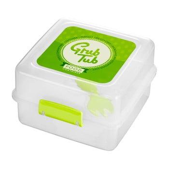 Cutie gustări cu 2 compartimente și tacâmuri Premier Housewares Grub Tub, 13,5 x 10 cm, alb-verde bonami.ro