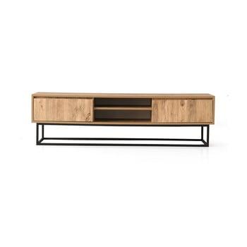 Comodă TV cu aspect de lemn de pin Kalune Design Belinda, lungime 140 cm, natural imagine