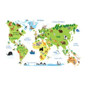 Autocolant de perete Ambiance Childrens World Map poza bonami.ro