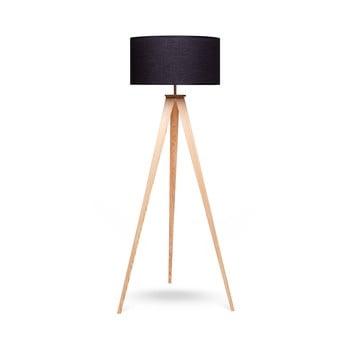 Lampadar cu picioare din lemn loomi.design Karol, negru-natural poza bonami.ro