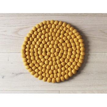 Pernă cu bile din lână, pentru copii Wooldot Ball Chair Pad, ⌀ 30 cm, galben muștar bonami.ro