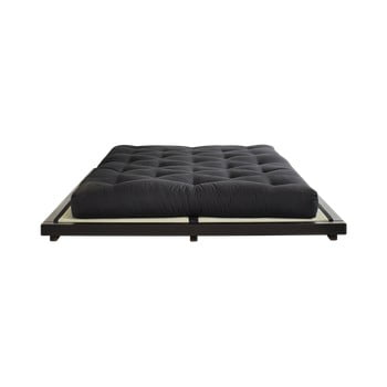 Pat dublu din lemn de pin cu saltea și tatami Karup Design Dock Comfort Mat Black/Black, 160 x 200 cm bonami.ro