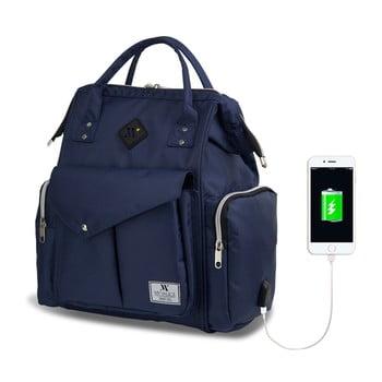 Rucsac maternitate cu port USB My Valice HAPPY MOM Baby Care, albastru închis bonami.ro