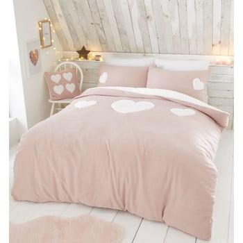 Lenjerie de pat din fleece Catherine Lansfield Heart, 200 x 200 cm, roz bonami.ro