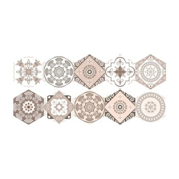 Set 10 autocolante de podea Ambiance Hexagons Cornalina, 40 x 90 cm poza bonami.ro