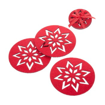 Set 4 suporturi pentru pahare Crăciun Unimasa Snowflake, roșu bonami.ro