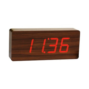 Ceas deșteptător cu LED Gingko Slab Click Clock, maro - roșu bonami.ro