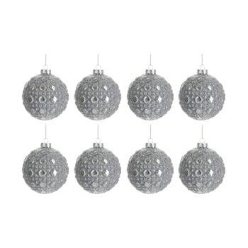 Set 8 globuri din sticlă pentru Crăciun J-Line Bauble, ø 7,8 cm, argintiu bonami.ro