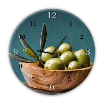 Ceas de perete Styler Glassclock Olives, ⌀ 30 cm poza bonami.ro