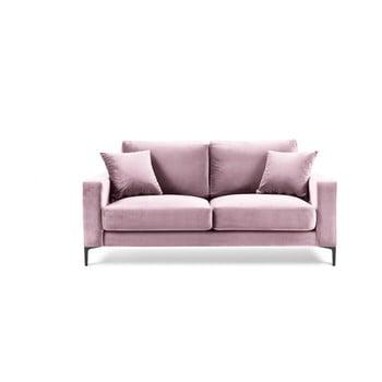Canapea cu tapițerie din catifea Kooko Home Harmony, 158 cm, roz
