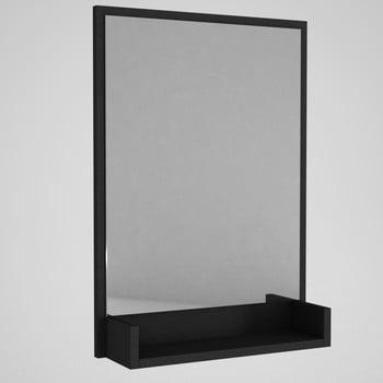 Oglindă de perete cu ramă neagră și raft Hanna bonami.ro