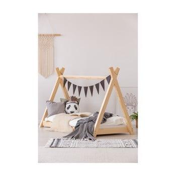 Cadru pat din lemn de pin, în formă de căsuță Adeko Mila TP, 80 x 160 cm imagine
