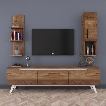 Set comodă TV cu rafturi și dulap de perete Wren, natural bonami.ro