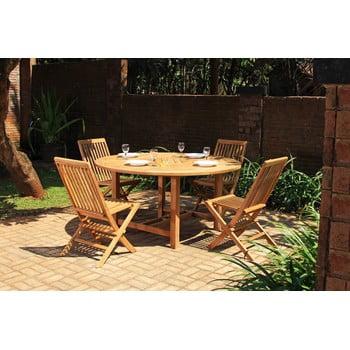 Set masă rotundă și 4 scaune pentru grădină din lemn de tec Ezeis imagine
