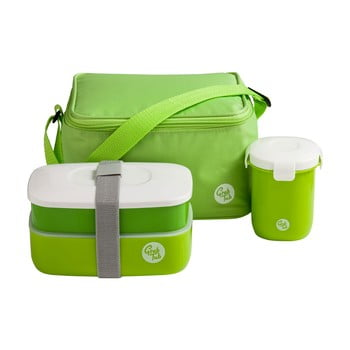 Set husă frigorifică, cutie pentru gustări, pahar Premier Housewares Grub Tub, 21 x 13 cm, verde poza bonami.ro
