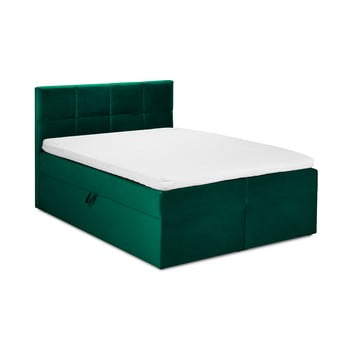 Pat dublu cu tapițerie din catifea Mazzini Beds Mimicry,160x200cm, verde imagine