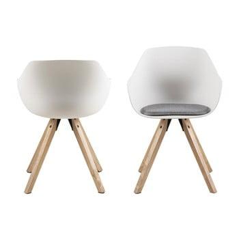 Set 2 scaune cu picioare din lemn de arbore de cauciuc Actona Tina, alb imagine