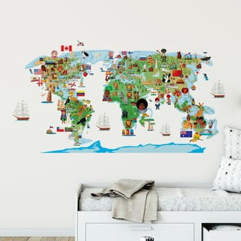 Autocolant de perete Ambiance World Map Discovery poza bonami.ro