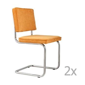 Set 2 scaune Zuiver Ridge Rib, galben bonami.ro