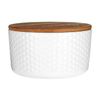 Recipient din dolomită și capac din bambus Premier Housewares White Mod, ⌀ 14 cm, alb bonami.ro