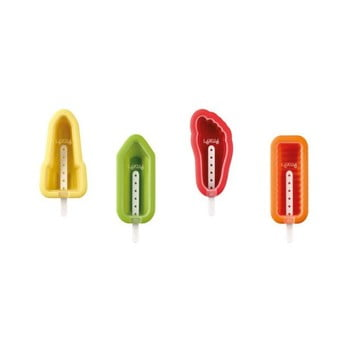 Set 4 forme colorate din silicon pentru înghețată cu diverse forme Lékué Iconic poza bonami.ro