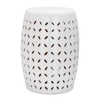 Măsuță din ceramică adecvată pentru exterior Safavieh Lattice Petal, ø33cm, alb imagine