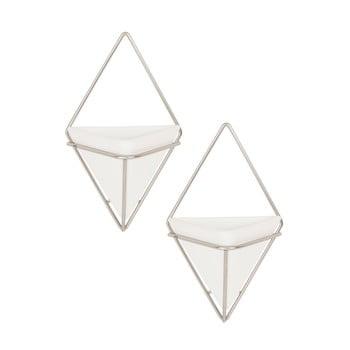 Set 2 ghivece suspendate din ceramică și cadru argintiu Umbra Trigg bonami.ro