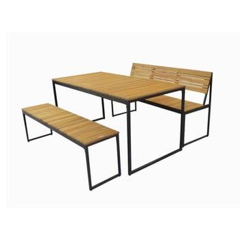Set 1 masă, 1 bancă, 1 bancă cu spătar de grădină din lemn de salcâm și structură din metal Ezeis Brick imagine
