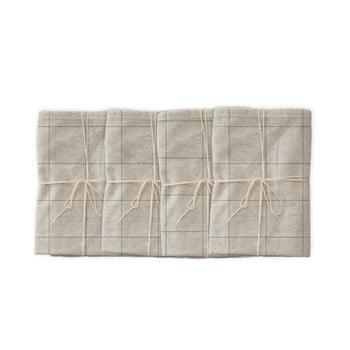 Set 4 șervețele textile din amestec de in Linen Couture Green Lines, 43 x 43 cm bonami.ro