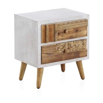 Noptieră cu detalii albe și 2 sertare Geese Rustico Puro, 48,5 x 52 cm imagine