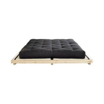 Pat dublu din lemn de pin cu saltea și tatami Karup Design Dock Double Latex Natural/Black, 140 x 200 cm poza bonami.ro