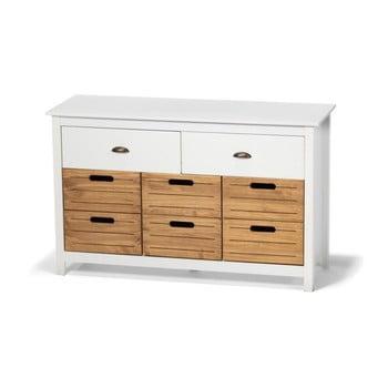 Comodă din lemn de pin și 8 sertare loomi.design Ibiza, alb imagine