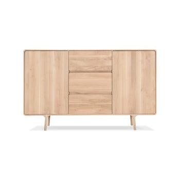 Comodă din lemn masiv de stejar cu 3 sertare Gazzda Fawn, lățime 180 cm imagine