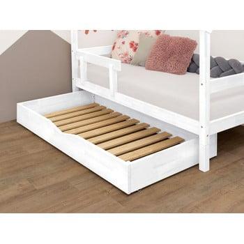 Sertar din lemn pentru pat cu somieră Benlemi Buddy,90x140cm, alb imagine