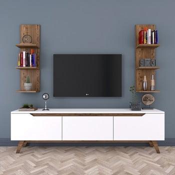 Set comodă TV cu 3 uși rabatabile și 2 etajere de perete Rani White, alb-natural bonami.ro