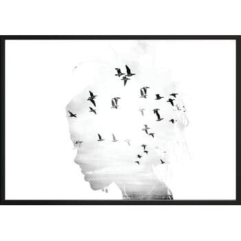 Poster cu ramă pentru perete GIRL/SILHOUETTE/BIRDS, 50 x 70 cm bonami.ro