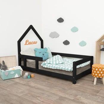 Pat negru tip căsuță cu protecție laterală pe stânga pentru copii Benlemi Poppi, 90 x 200 cm