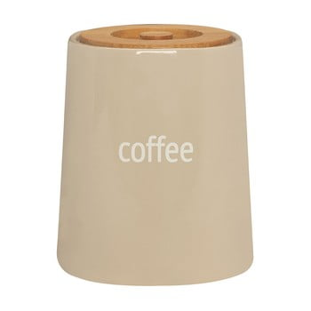 Recipient pentru cafea cu capac din lemn de bambus Premier Housewares Fletcher, 800 ml, crem poza bonami.ro
