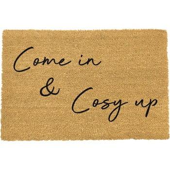 Covoraș intrare din fibre de cocos Artsy Doormats Come In & Cosy Up, 40 x 60 cm, negru poza bonami.ro