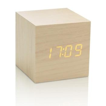 Ceas deșteptător cu LED Gingko Cube Click Clock, bej-galben bonami.ro