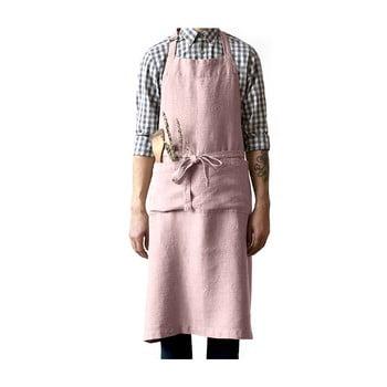 Șorț din in Linen Tales Chef, lungime 100cm, roz deschis bonami.ro