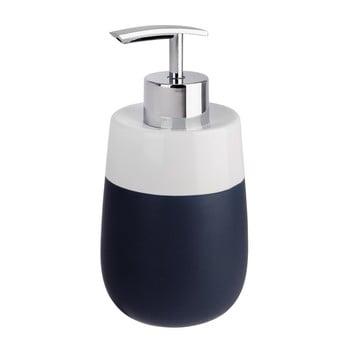 Dozator din ceramică pentru săpun lichid Wenko Matta, albastru - alb bonami.ro