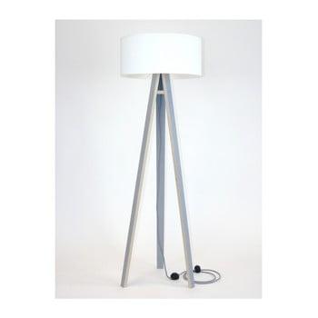 Lampadar gri cu abajur alb și cablu alb - negru Ragaba Wanda bonami.ro