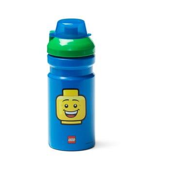 Sticlă pentru apă cu capac verde LEGO® Iconic, 390 ml, albastru poza bonami.ro