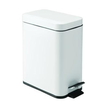 Coș de gunoi metalic cu pedală iDesign, 5l, alb poza bonami.ro