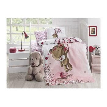 Cuvertură matlasată din bumbac pentru pat de o persoană Baby Pique Pinkie, 95 x 145 cm bonami.ro