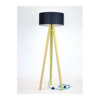 Lampadar galben cu abajur negru și cablu turcoaz Ragaba Wanda bonami.ro
