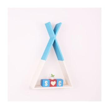 Raft de perete din lemn North Carolina Scandinavian Home Decors Teepee, înălțime 45 cm, albastru poza bonami.ro
