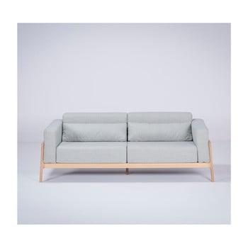 Canapea cu structură din lemn de stejar Gazzda Fawn, 210 cm, albastru - gri imagine