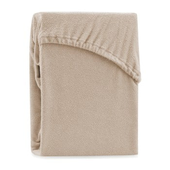 Cearșaf elastic pentru pat dublu AmeliaHome Ruby Siesta, 220-240 x 220 cm, bej închis poza bonami.ro